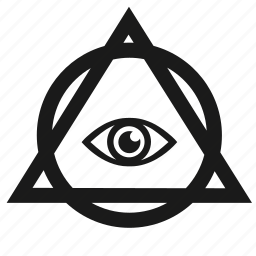 eye, illuminati, pyramid, round, triangle icon