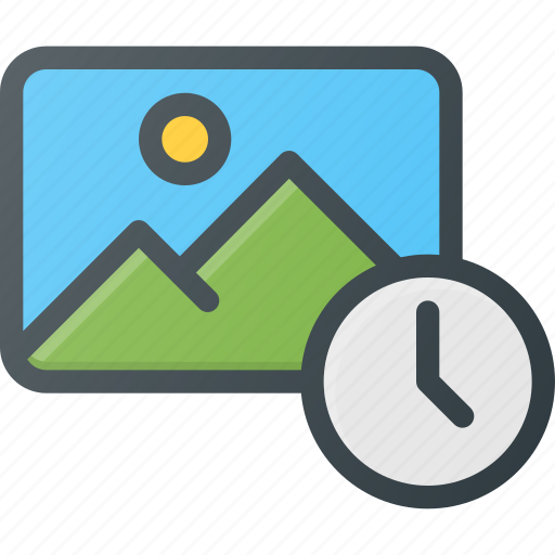 date, image, photo, photography, picture, time, timed icon