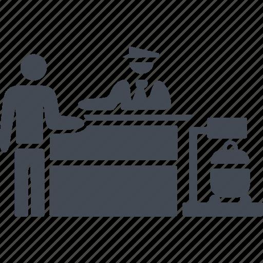 Customs control immigration passport security icon for Bureau des douanes 64