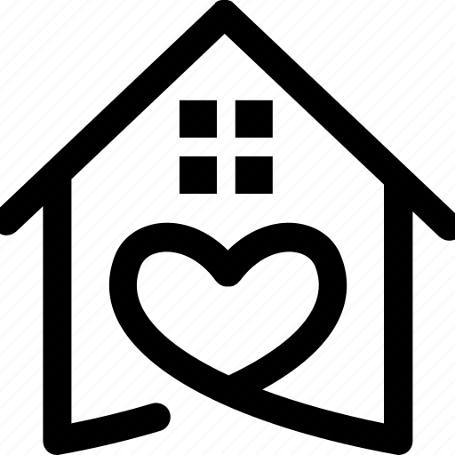 heart, home, house, real state icon