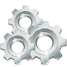 execute, freeware, gears, settings, silver, utilities icon
