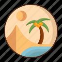oasis, desert, plam, water