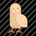 snowy, owl, bird, animal