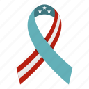 america, american ribbon, curved, flower, number, patriotic, ribbon icon