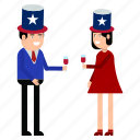 celebration, couple, day, independence, states, united, usa icon