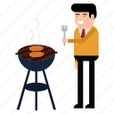 barbecue, celebration, cooking, grill, kitchen, man, party icon