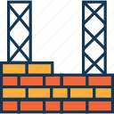 bricklayer, bricks, brickwork, construction, housing, under construction, wall icon