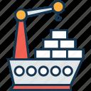 cargo ship, cargo ship crane, shipment, shipping, vessel crane icon