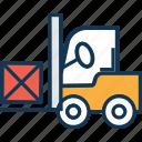 bendi truck, forklift truck, forklift truck carry carton, industrial transport, pallet jack icon