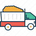 construction truck, dump truck, loading truck, transport, truck, vehicle icon