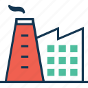 brick castle, brick tower, brick tower with chimney, factory, industry tower icon