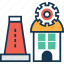 building with cog, factory building, industry, power plant icon
