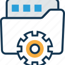 cogwheel, folder with cog, folder with cogwheel, logistics settings, secure logistics, shipping icon
