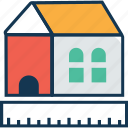 cottage, house measurement, house with scale, hut, ruler icon