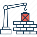 bricks lifter, crane lifter, home repair, wall construction lifter icon
