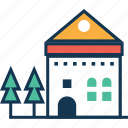 building, farmhouse, house, hut, living house icon