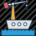 cargo ship, cargo ship crane, shipment, shipping, shipping cruise, vessel crane icon
