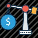 business crane, crane hook lifting us dollar, crane lifting, lifting crane, tower crane icon