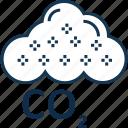 carbon cloud, cloud, co2 emission, co2 formula, dioxide, ecology waste, gas icon