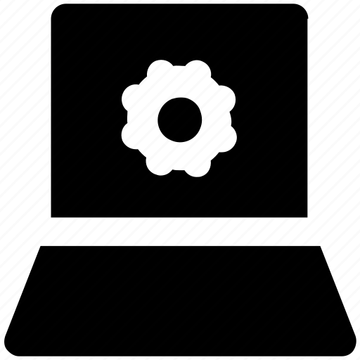 cog, cogwheel, laptop setting, lcd, screen, setting icon