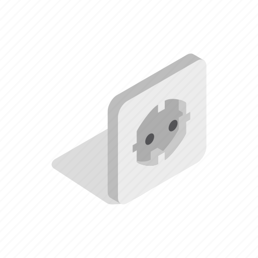 electricity, energy, felectric, isometric, power, socket, wall icon