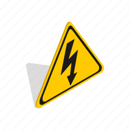 danger, electric, electricity, isometric, safety, voltage, warning icon