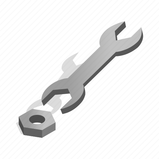 cartoon, industry, isometric, nut, tool, work, wrench icon
