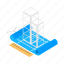 building, construction, design, engineering, isometric, plan, ruler icon