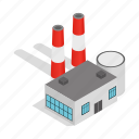 exhaust, fog, isometric, plant, power, station, thermal icon