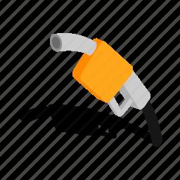 diesel, gasoline, gun, isometric, nozzle, petroleum, transport icon