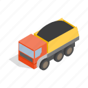 big, dump, heavy, industry, isometric, transportation, truck icon