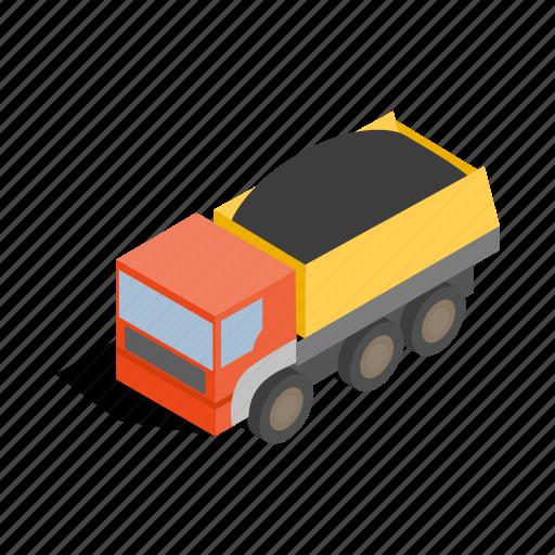 big, dump, heavy, industry, isometric, transportation, truck icon