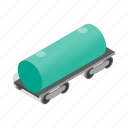 fuel, gasoline, isometric, oil, railway, tank, transportation icon