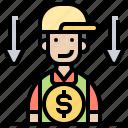 cost, direct, financial, labor, reduce icon
