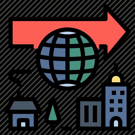 change, development, globalization, modernisation, online, urbanisation icon