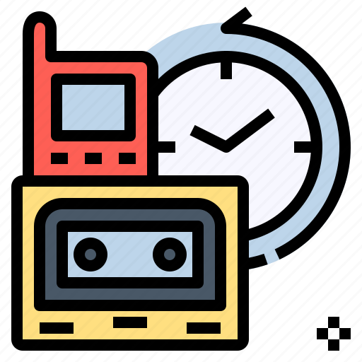 annals, cassette, chronicle, clock, history, obsolete, time icon