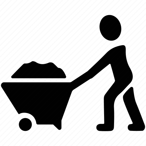 construction site, construction worker, pushing wheelbarrow, worker, worker pushing wheelbarrow icon