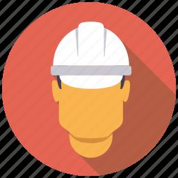 hard hat, helmet, industrial, industry, man, worker icon