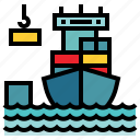 boat, containers, distribution, industry, transport, travelling icon