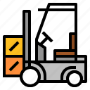 fork, forklift, lift, loader, logistic icon