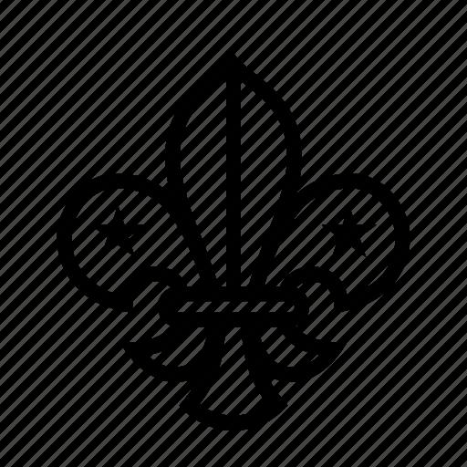 badge, boy scouts, emblem, fleur de lis, scouts, trefoil icon