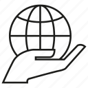 globe, hand, hold, reserve, save, world icon