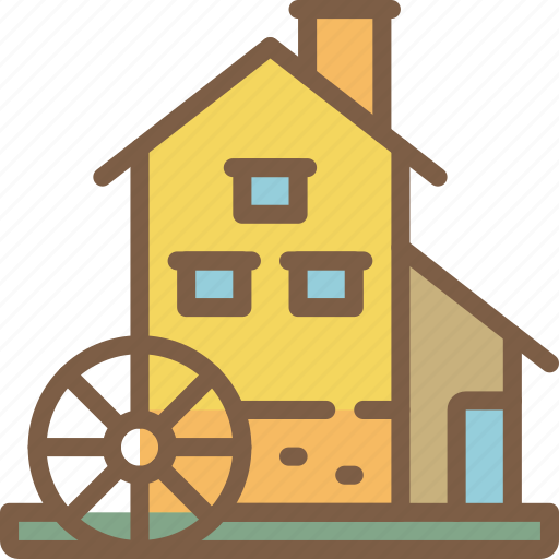 Manufacture, industrial, industry, factory, water, mill, machines icon