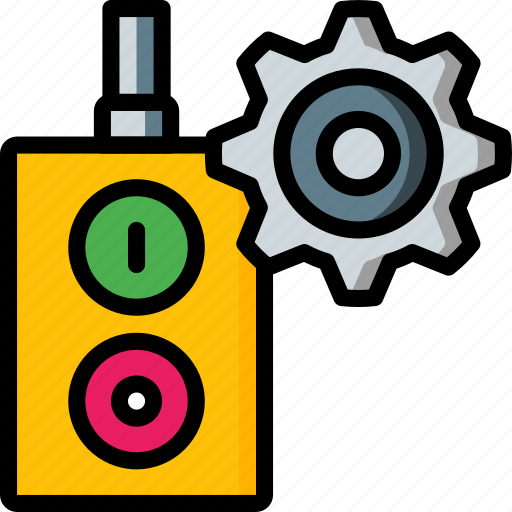 factory, industrial, industry, machines, off, on, switch icon