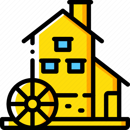 Manufacture, industrial, industry, factory, water, mill, machines icon - Download