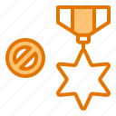achievement, business, medal, no, work icon