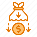 bank, drop, finance, inflation, money icon