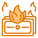burning, business, dollar, money, startup icon