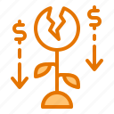 bank, finance, inflation, money, ungrowth icon