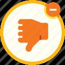 bad, dislike, down, negative, social media, thumb, vote icon
